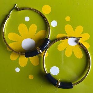 Ann Taylor Navy blue and gold hoop earrings